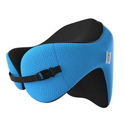LANGRIA 6-in-1 Memory Foam Neck Support Travel Pillow with D