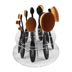 AutumnFall 10 Hole Oval Makeup Brush Holder Drying Rack Orga