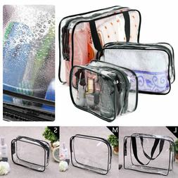 3 PCS Clear PVC Travel Wash Bag Cosmetic Makeup Toiletry Hol