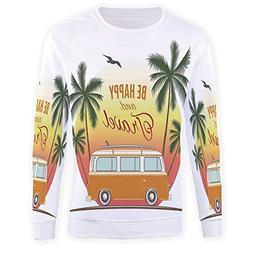 Men's Top Print,Surf Decor,Pullover T-Shirt Long Sport Outwe