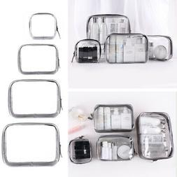 4Pc Women Cosmetic Makeup Toiletry Clear PVC Travel Wash Bag