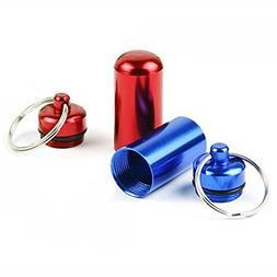5PS Mini Pill Box Keychain Waterproof Aluminum Travel Pill H