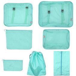 7 Set Packing Cubes Compression Clothing Organizer Travel Lu