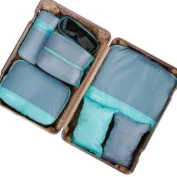 7PCS Travel Packing Organizer Cubes Clothes Storage Bags Mul