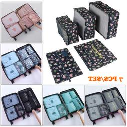 7Size Set Travel Cloth Sorting Bag Packing Cube Tote Case Co
