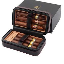 GALINER Cigar Humidor Case, Cedar Wood Portable Travel Leath