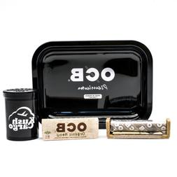 OCB Rolling Tray Black Travel Size with OCB Rolling Papers a