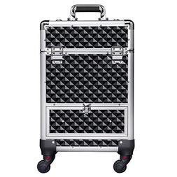 Yaheetech 360-Degree Aluminum Rotating Castors Cosmetic Case