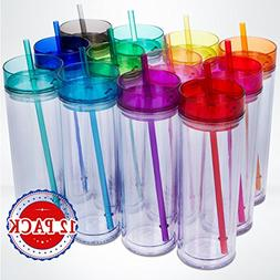 12 Pack - Insulated Acrylic Tumblers with Colored Lids and S