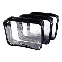 3 Pack Clear Cosmetic Bag Medium Size Travel Case Waterproof