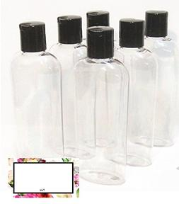 6 oz Clear Cosmo Oval Plastic BAIRE BOTTLES, Black Disc Top