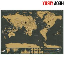 Deluxe Erase Black World Map Scratch off World Map Personali