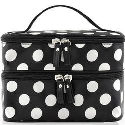 Women Double Layer Travel Cosmetic Bag Makeup Case Toiletry