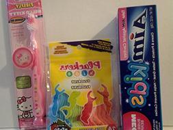 Firefly Hello Kitty Toothbrush Travel Kit Bundle with Aim Ki