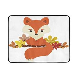 Fox Next to Autumnfall Leaves Acorns and Chestnut Pattern Po