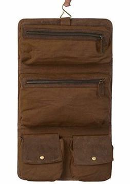 KOMALC Genuine Buffalo Leather Hanging Toiletry Bag Travel D