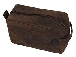 KOMALC Genuine Buffalo Leather Unisex Toiletry Bag Travel Do