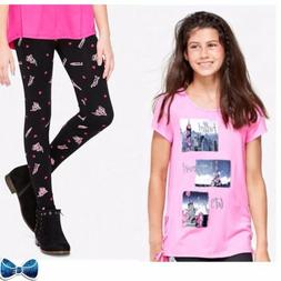 Justice Girls Size 12 Travel Photo Lace Up Top & Pattern Leg