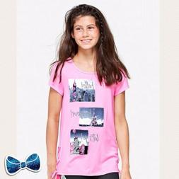 Justice Girls Size 12 Travel Photo 📸Lace Up Top Short Sle