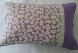 HAND MADE TRAVEL SIZE  PILLOW CASE DAISIES ON LAVENDER