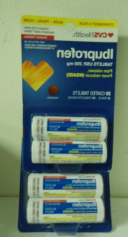 CVS Health Ibuprofen 10 Coated Tabs Each -2 Vials- Travel Si