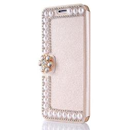 AutumnFall IPhone X Sticking Pearl Cover,Shine Flip Leather