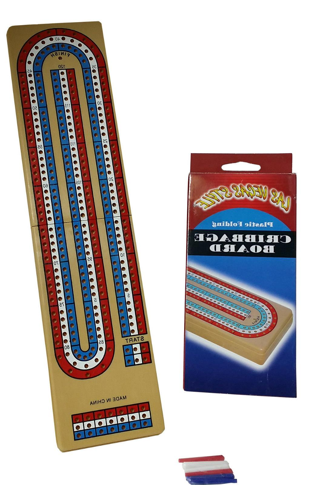 1 NEW Boxed Travel Size Cribbage Board 3 PLAYER  With Pegs F