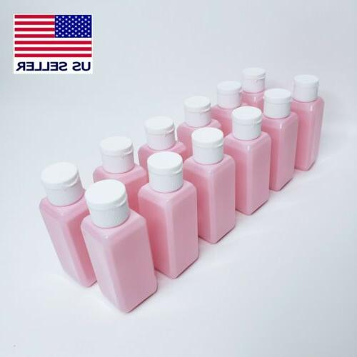 12pcs 50ml plastic empty pink bottles