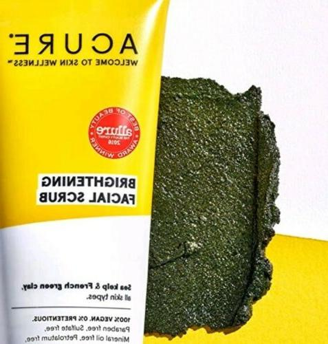 3 X Acure Brightening Facial Scrub Sea Kelp