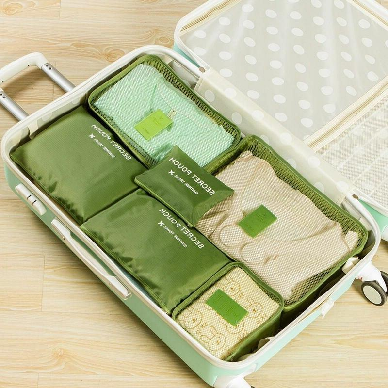 6Pcs/Set Waterproof Storage Bags <font><b>Size</b></font> For Clothes Luggage See Through