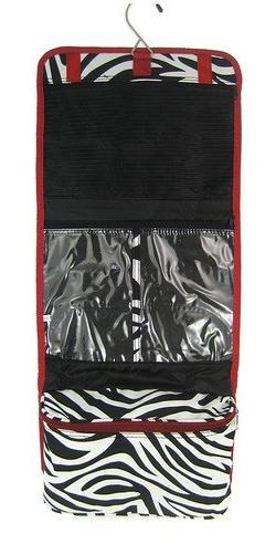 Hanging Cosmetic Makeup Toiletry Bag Case Red Trim Black Whi