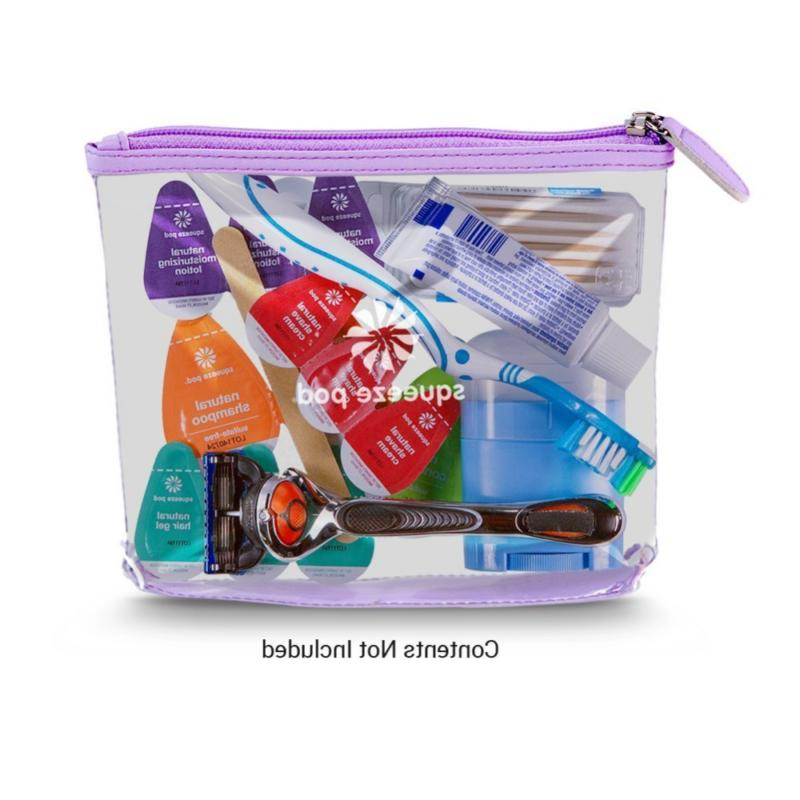 Squeeze Pod Clear Travel Toiletry Bag Zipper Quart Size Wome