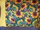 TRAVEL SIZE PILLOWCASE LARGE YELLOW SUN FLOWERS WITH BIRDS/