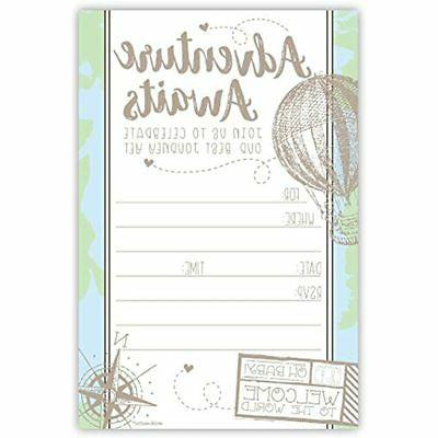 adventure travel baby shower invitations 20 count