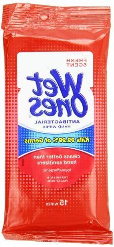 Wet Ones Antibacterial Hand  Wipes Travel Pack, 15-Count