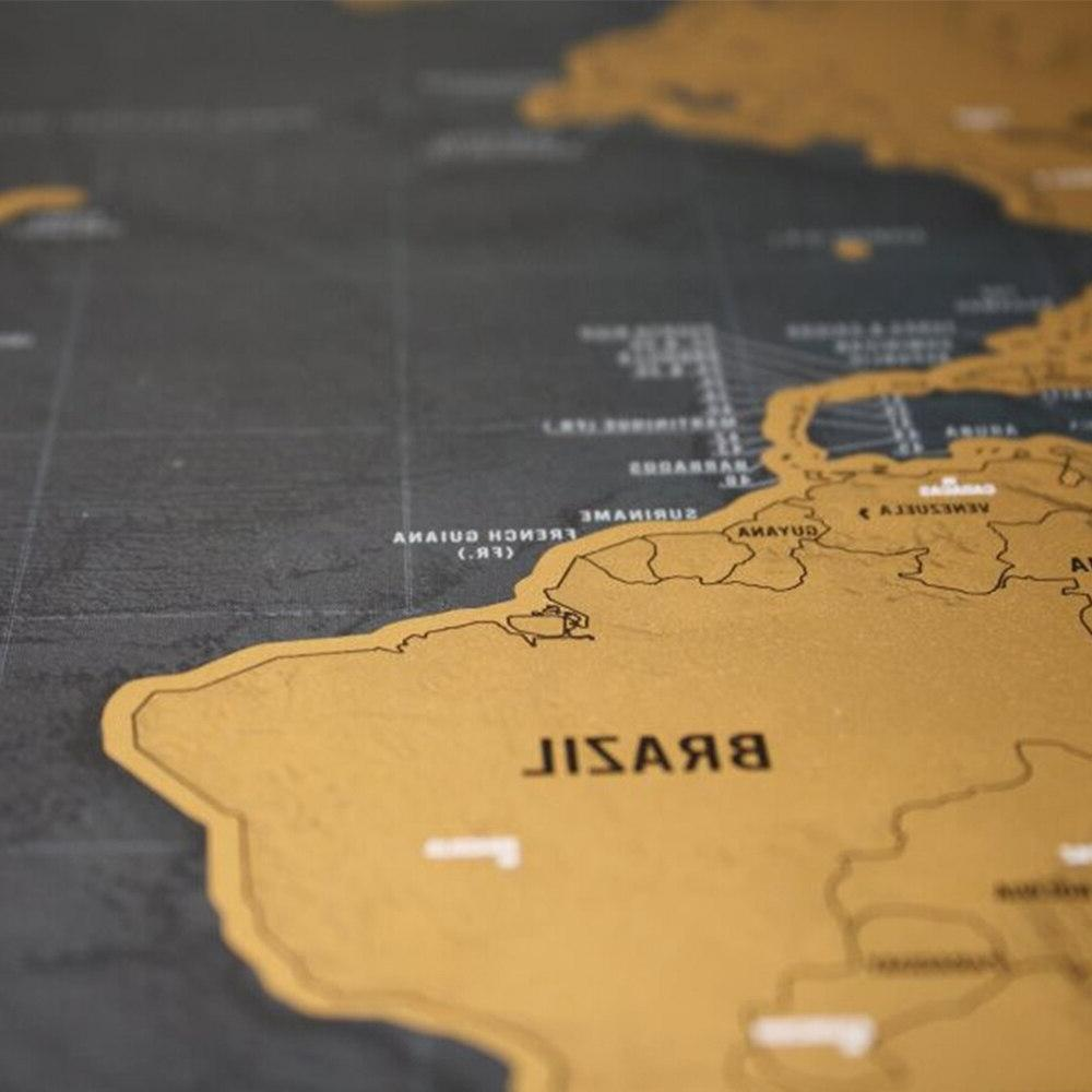 Deluxe Black Map Map for Map Decoration Wall