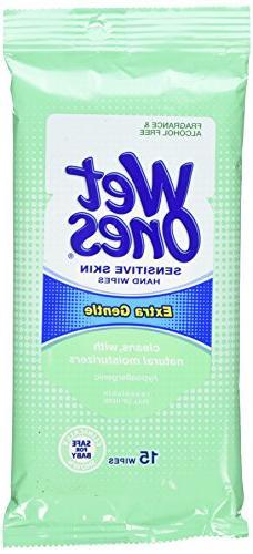 Wet Ones Moist Towelette For Sensitive Skin, Travel Pack, 15