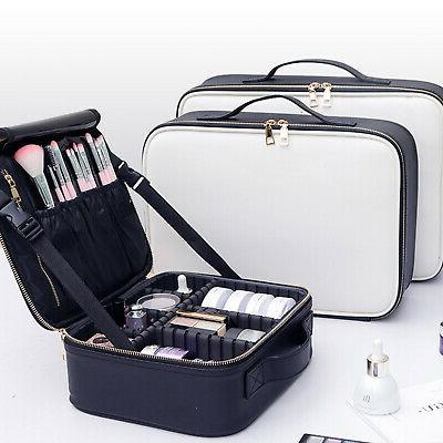 Pro Makeup Bag Cosmetic Case Leather Travel Large Storage Or