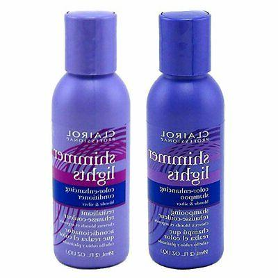 Clairol Shimmer Lights Shampoo Conditioner 2 Ounce  Travel S