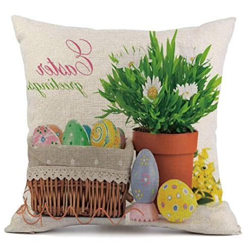 square easter print pillow cases