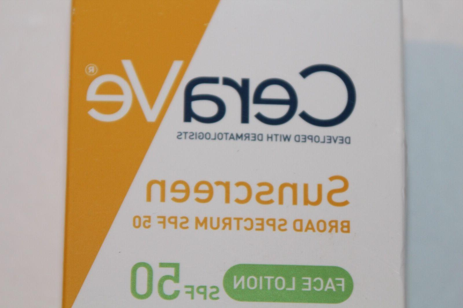 CeraVe Sunscreen Broad Spectrum SPF, 50 Face Lotion, 2 oz Li