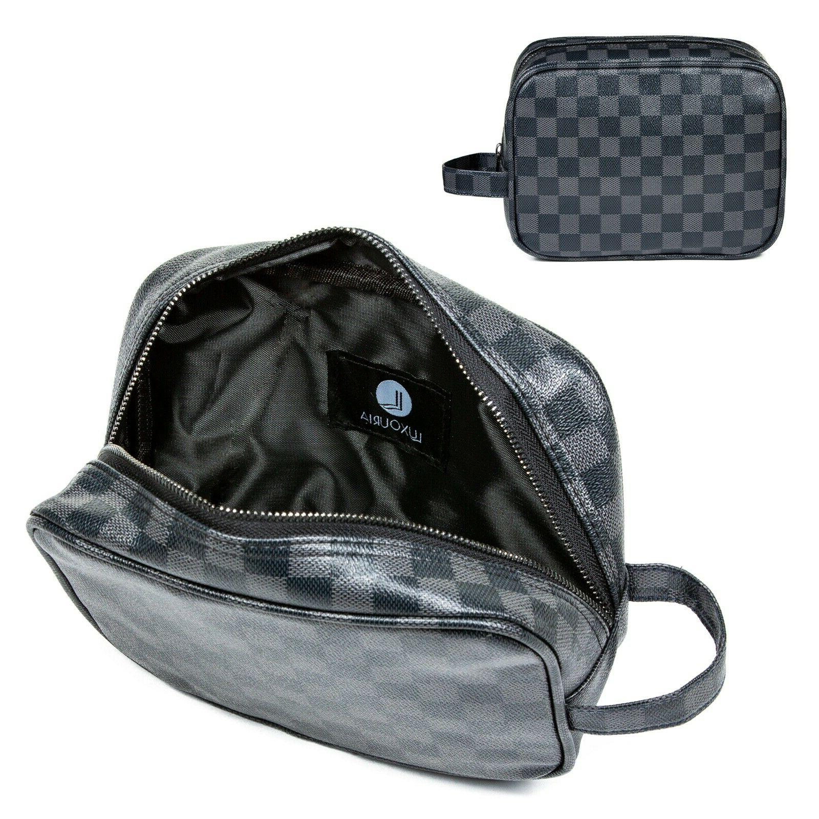 LUXOURIA Checkered Makeup Leather Pouch