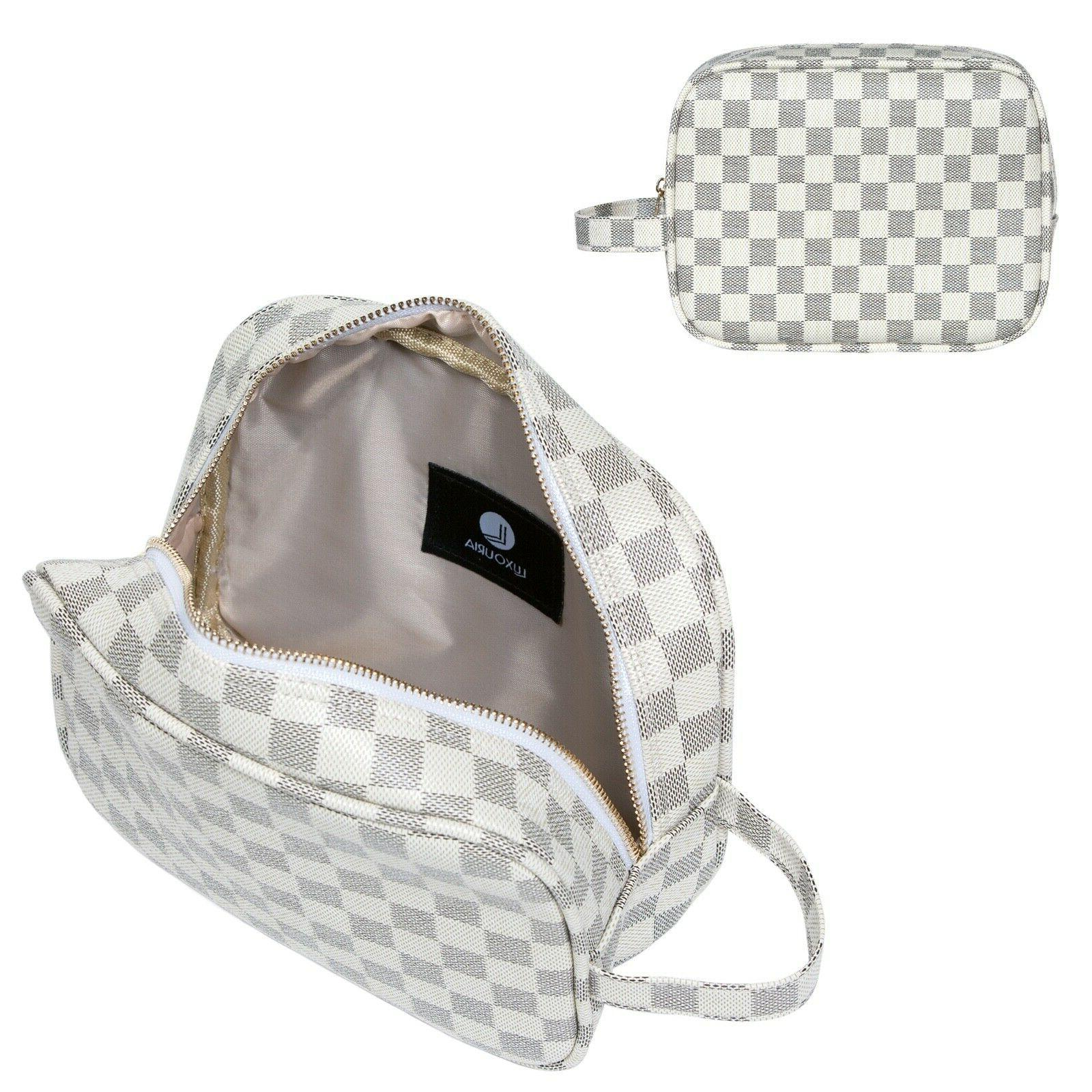 LUXOURIA Checkered Travel Luxury Cosmetics Bag Leather