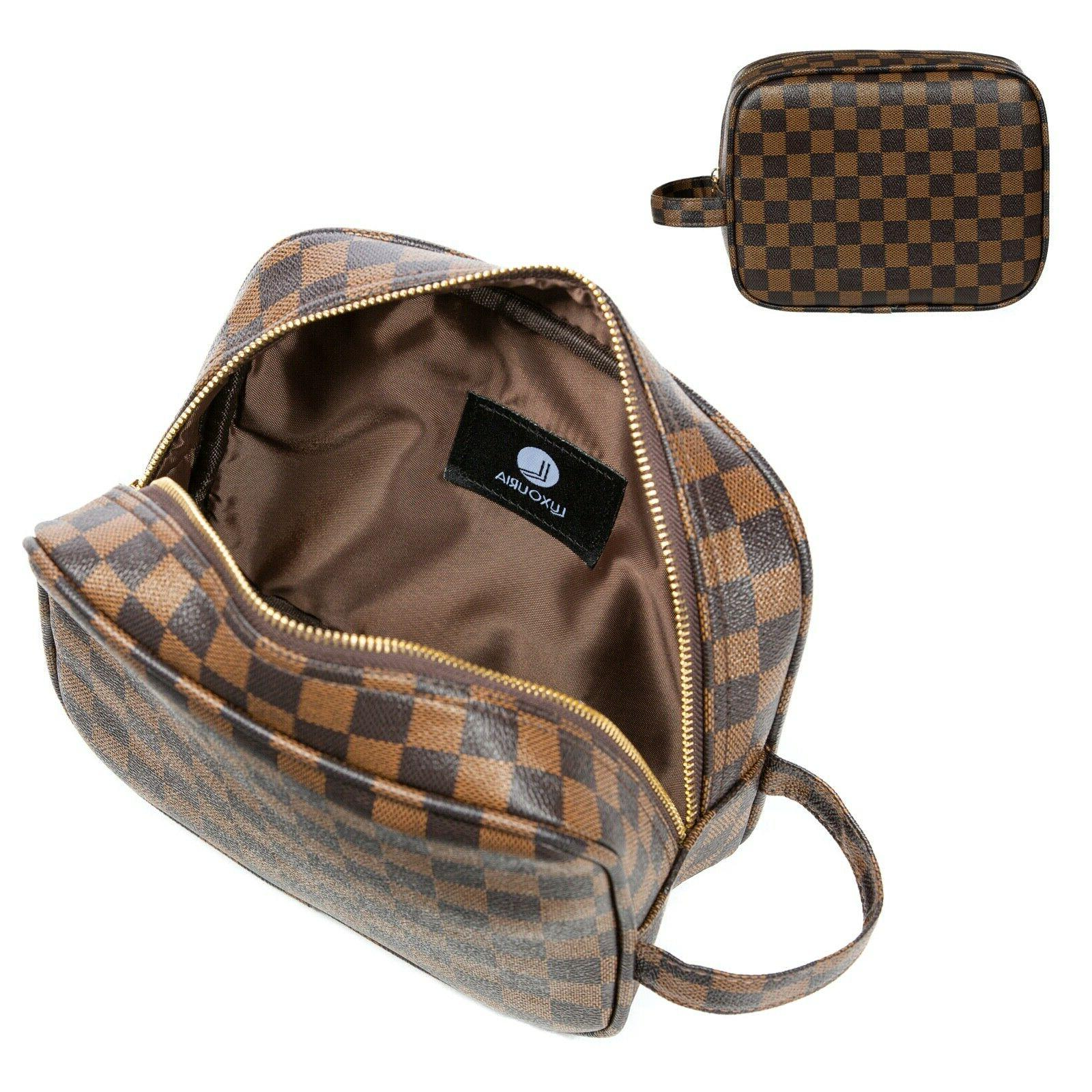 travel checkered makeup bag for women luxury