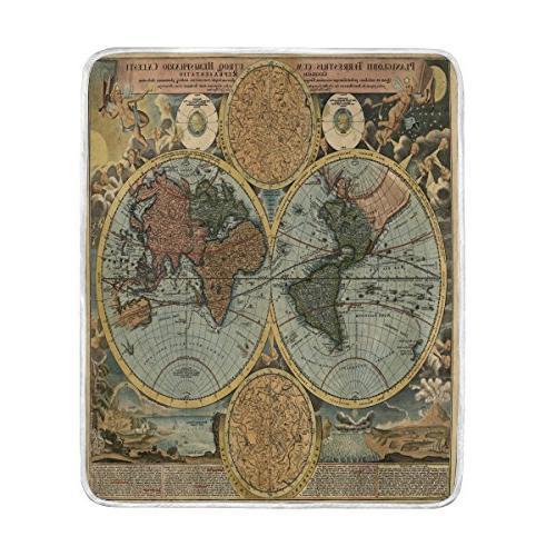 vintage world map blanket soft