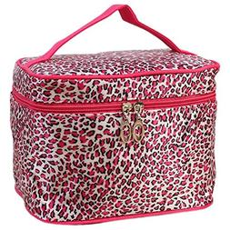 AutumnFall Leopard Print Cosmetic Bags Women Travel Makeup B