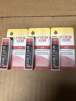 Lot Of 3 Burt's Bees Rose Tinted Lip Balm 0.15 oz Each New