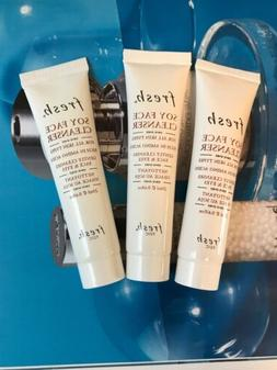 Lot Of 3* fresh SOY FACE CLEANSER For All Skin Types .68oz /