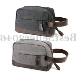Men Travel Toiletry Bag Canvas PU Leather Makeup Organizer S