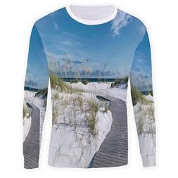 iPrint Mens Womens Hooded Sweatshirt,Beach,3D Print Fleece P